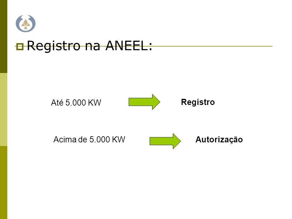 Registro na ANEEL: Até 5.000 KW Registro Acima de 5.000 KW Autorização