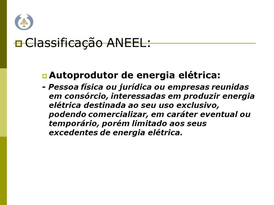 Classificação ANEEL: Autoprodutor de energia elétrica: