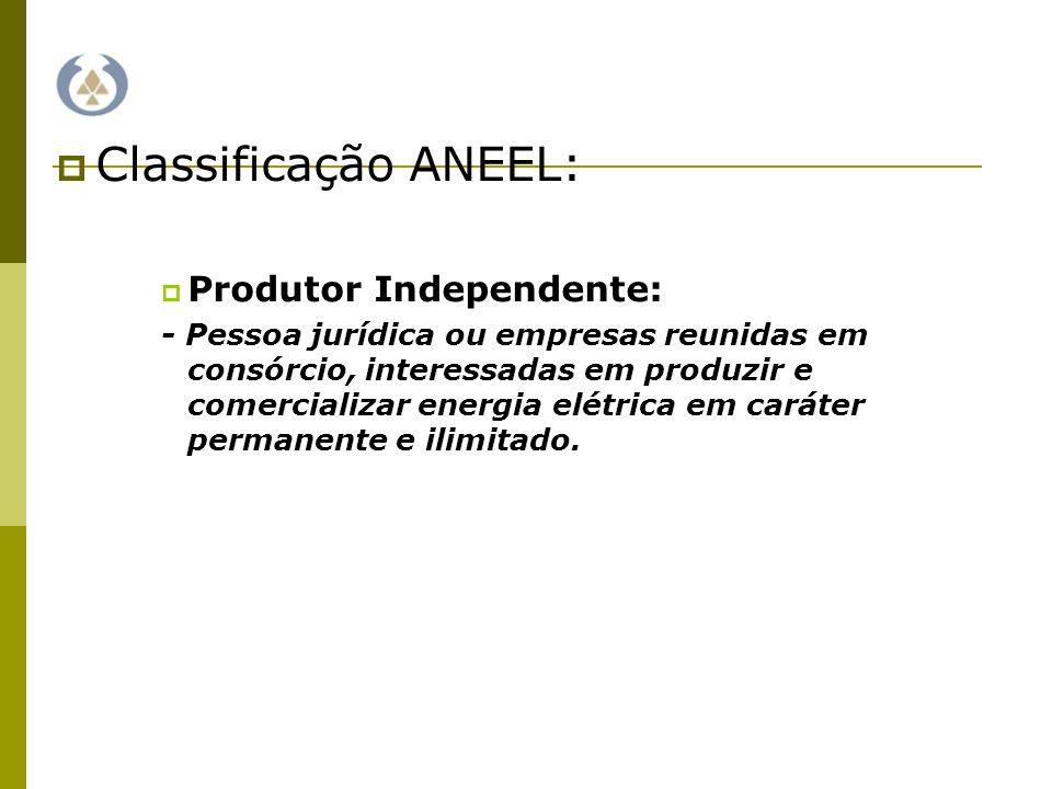 Classificação ANEEL: Produtor Independente: