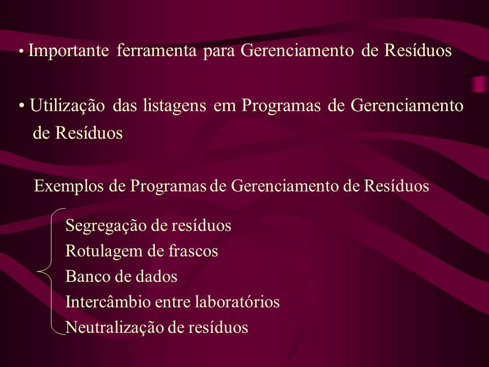 Utilização das listagens em Programas de Gerenciamento de Resíduos