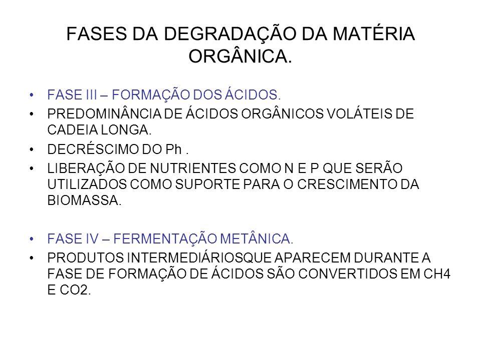 FASES DA DEGRADAÇÃO DA MATÉRIA ORGÂNICA.