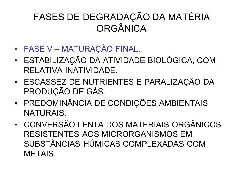 FASES DE DEGRADAÇÃO DA MATÉRIA ORGÂNICA
