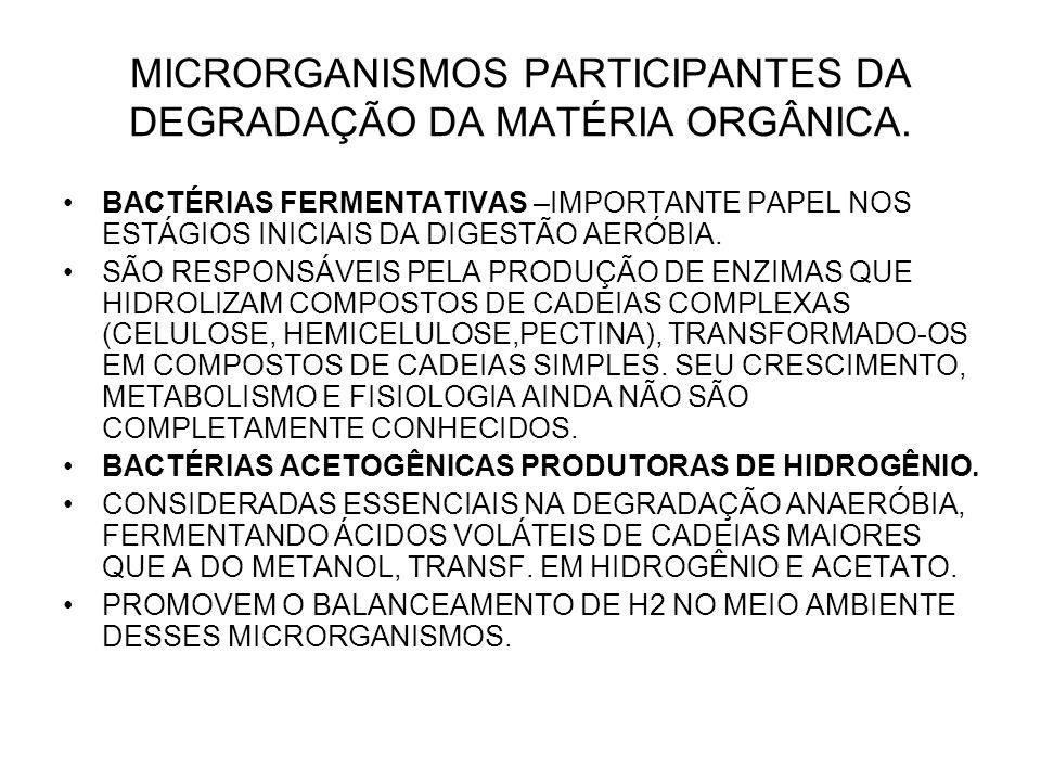 MICRORGANISMOS PARTICIPANTES DA DEGRADAÇÃO DA MATÉRIA ORGÂNICA.