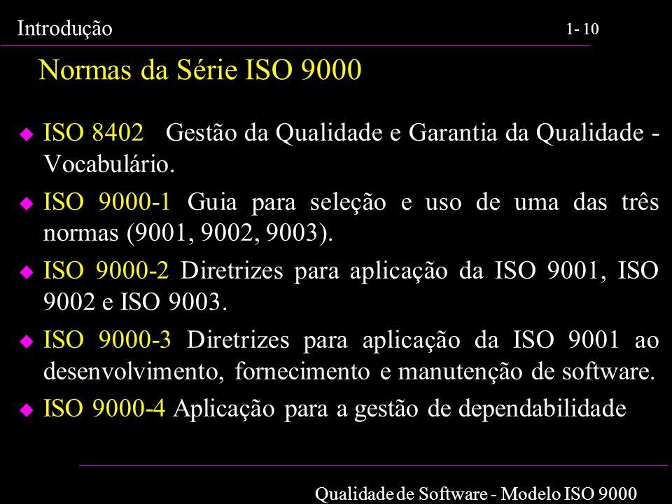 Normas da Série ISO 9000 ISO 8402 Gestão da Qualidade e Garantia da Qualidade - Vocabulário.