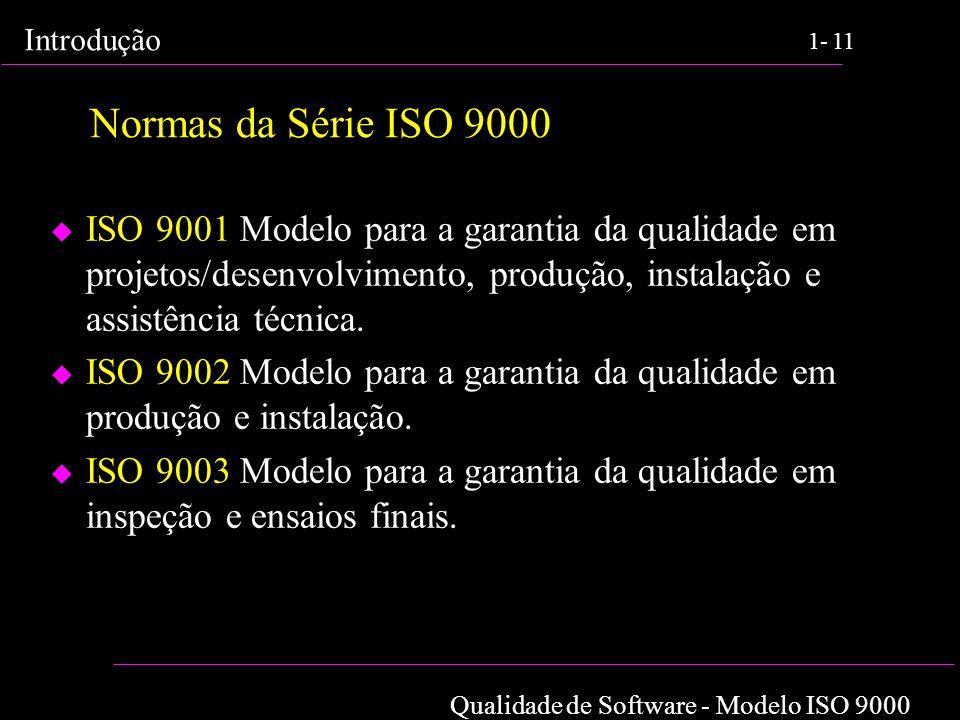 Normas da Série ISO 9000 ISO 9001 Modelo para a garantia da qualidade em projetos/desenvolvimento, produção, instalação e assistência técnica.