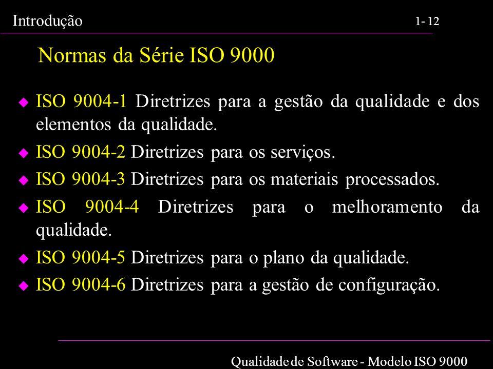 Normas da Série ISO 9000 ISO 9004-1 Diretrizes para a gestão da qualidade e dos elementos da qualidade.