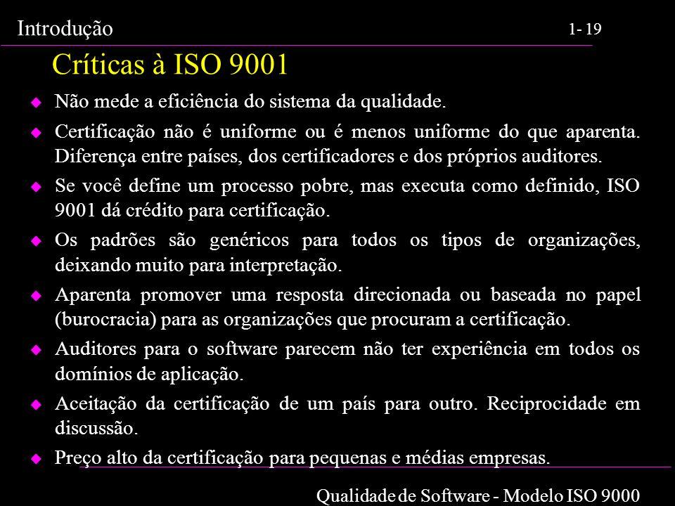 Críticas à ISO 9001 Não mede a eficiência do sistema da qualidade.