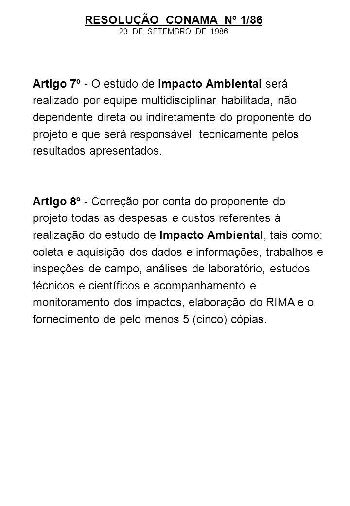 RESOLUÇÃO CONAMA Nº 1/86 23 DE SETEMBRO DE 1986.