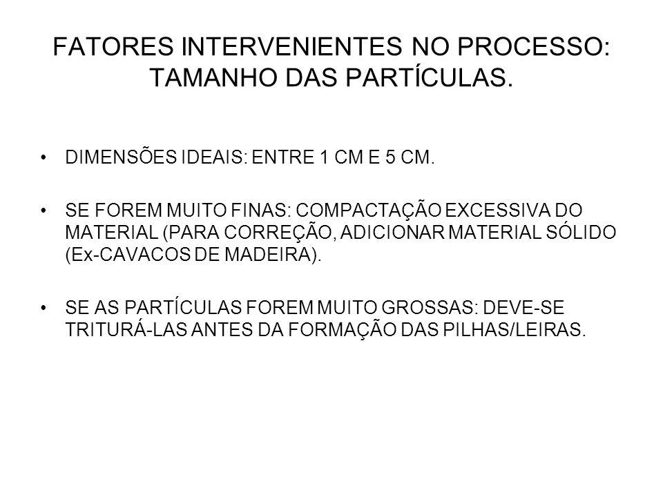 FATORES INTERVENIENTES NO PROCESSO: TAMANHO DAS PARTÍCULAS.
