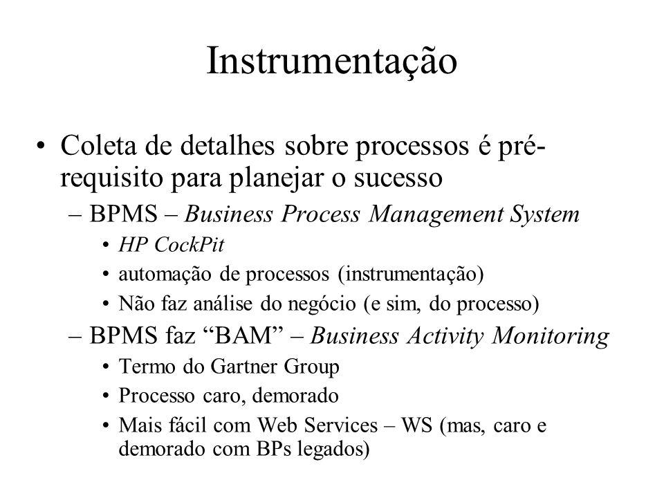 Instrumentação Coleta de detalhes sobre processos é pré-requisito para planejar o sucesso. BPMS – Business Process Management System.