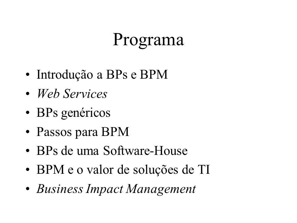 Programa Introdução a BPs e BPM Web Services BPs genéricos