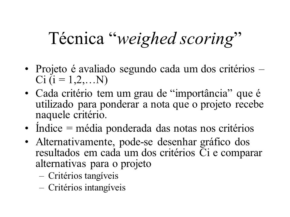 Técnica weighed scoring