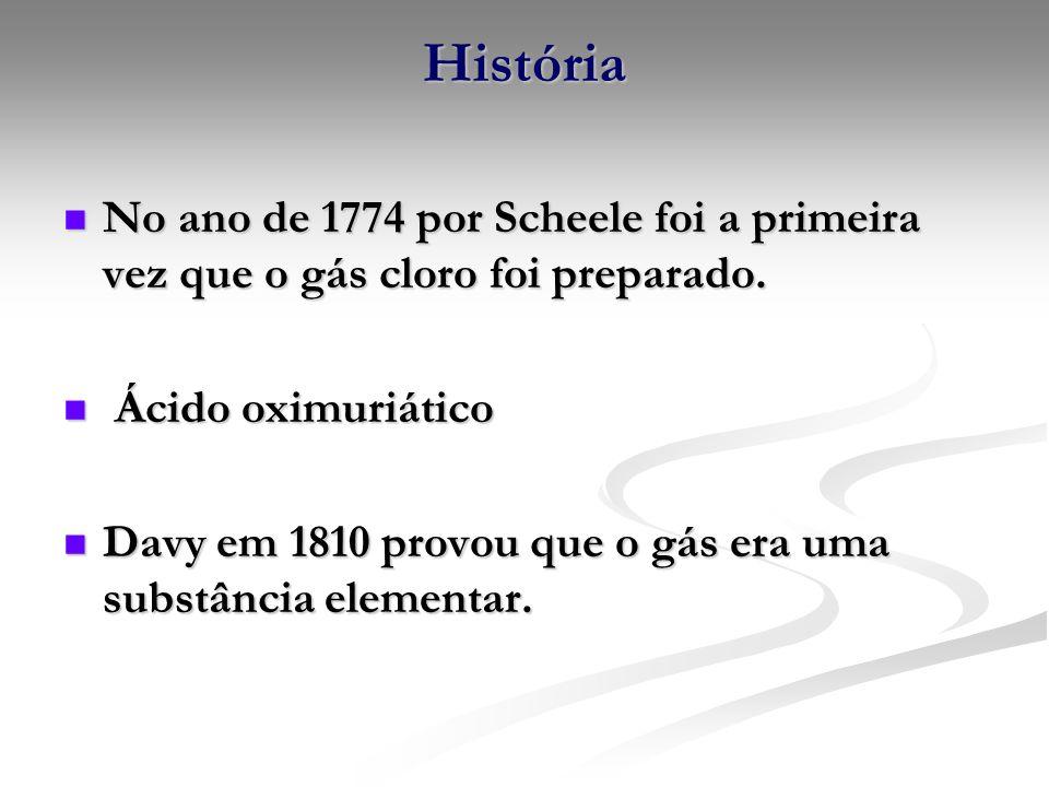 HistóriaNo ano de 1774 por Scheele foi a primeira vez que o gás cloro foi preparado. Ácido oximuriático.