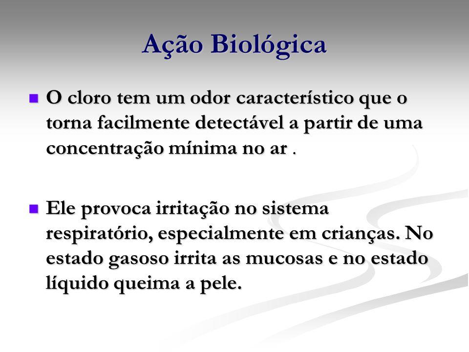 Ação BiológicaO cloro tem um odor característico que o torna facilmente detectável a partir de uma concentração mínima no ar .