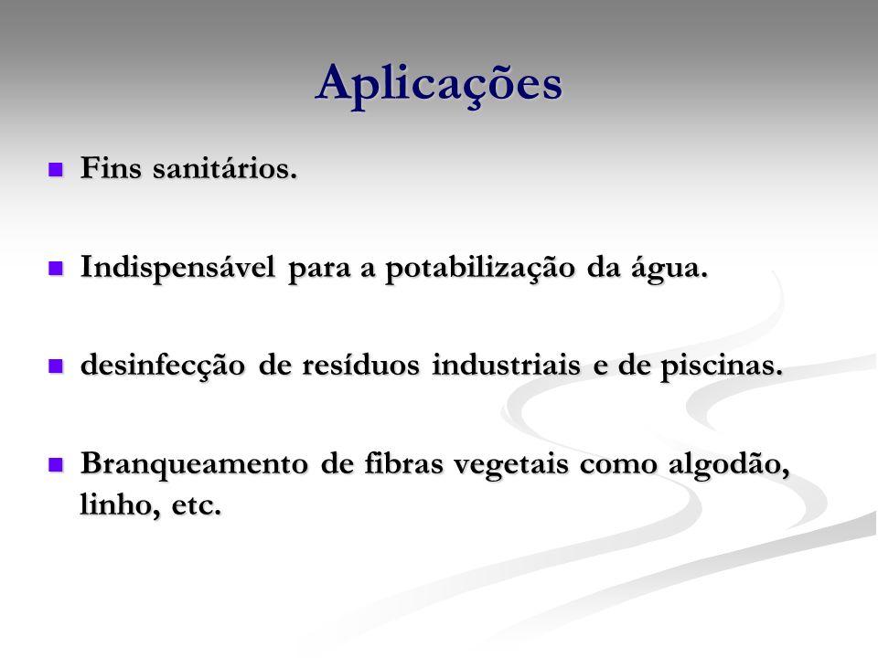 Aplicações Fins sanitários.