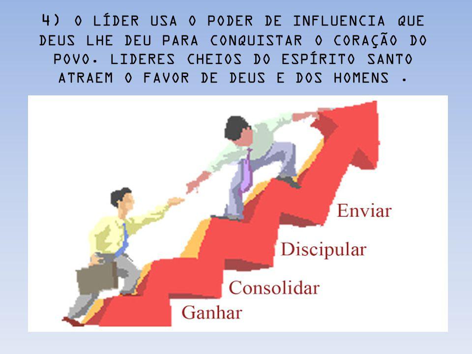 4) O LÍDER USA O PODER DE INFLUENCIA QUE DEUS LHE DEU PARA CONQUISTAR O CORAÇÃO DO POVO.