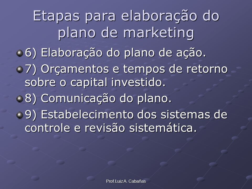 Etapas para elaboração do plano de marketing
