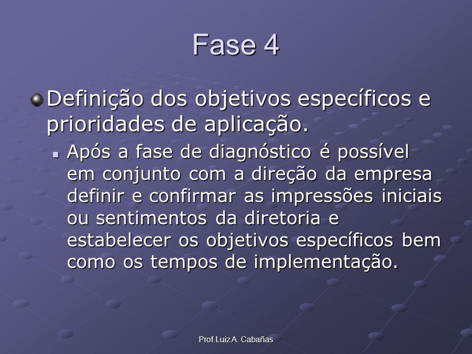 Fase 4 Definição dos objetivos específicos e prioridades de aplicação.