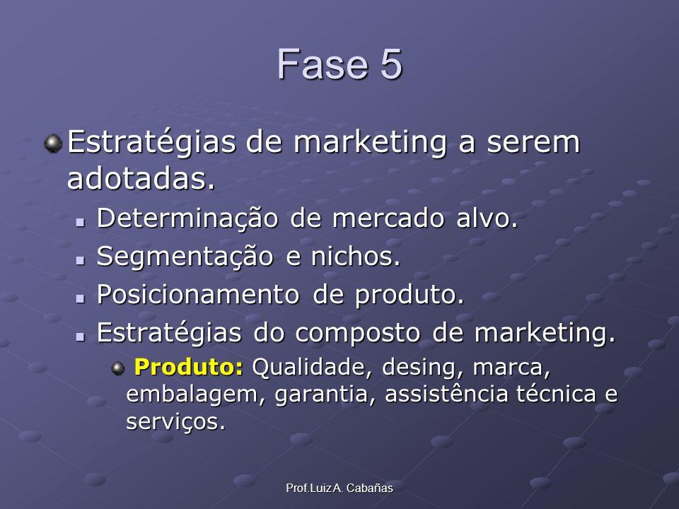 Fase 5 Estratégias de marketing a serem adotadas.