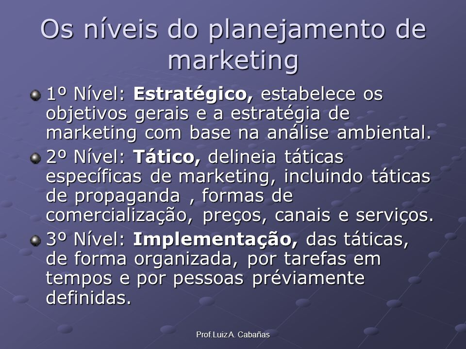 Os níveis do planejamento de marketing