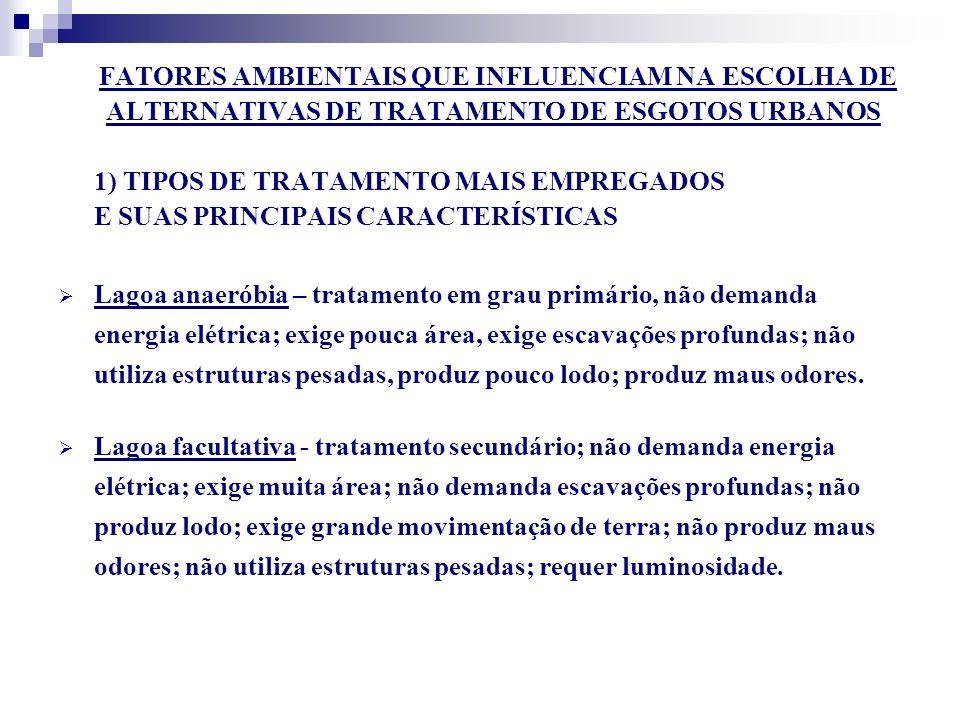 ALTERNATIVAS DE TRATAMENTO DE ESGOTOS URBANOS