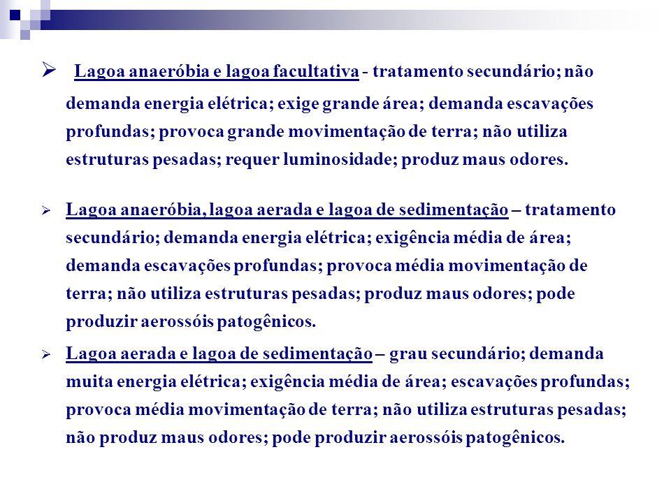 Lagoa anaeróbia e lagoa facultativa - tratamento secundário; não demanda energia elétrica; exige grande área; demanda escavações profundas; provoca grande movimentação de terra; não utiliza estruturas pesadas; requer luminosidade; produz maus odores.