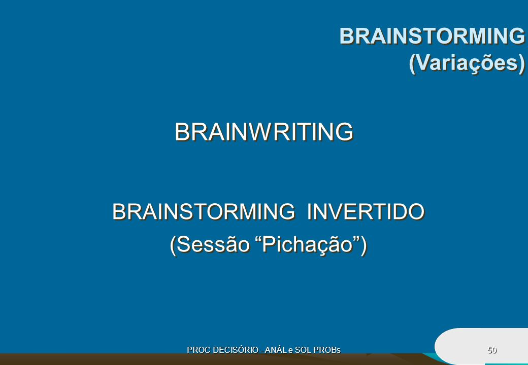 BRAINWRITING BRAINSTORMING (Variações) BRAINSTORMING INVERTIDO