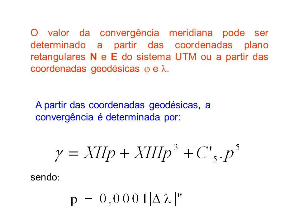 O valor da convergência meridiana pode ser determinado a partir das coordenadas plano retangulares N e E do sistema UTM ou a partir das coordenadas geodésicas  e .