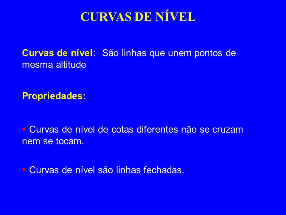 CURVAS DE NÍVEL Curvas de nível: São linhas que unem pontos de mesma altitude. Propriedades:
