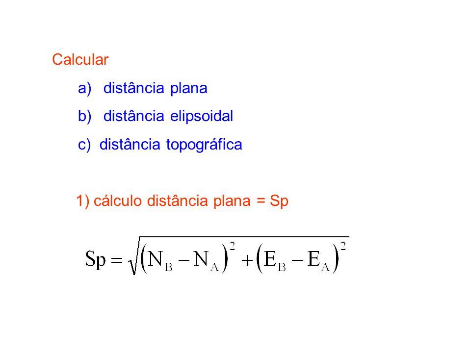 Calcular a) distância plana. b) distância elipsoidal.