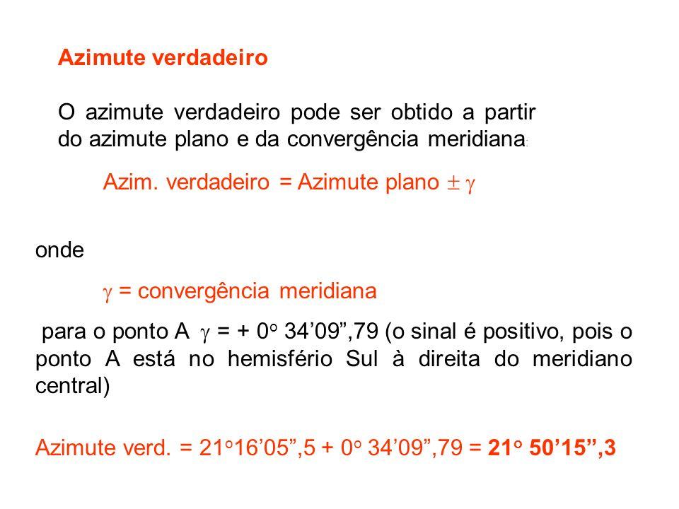 Azimute verdadeiro O azimute verdadeiro pode ser obtido a partir do azimute plano e da convergência meridiana:
