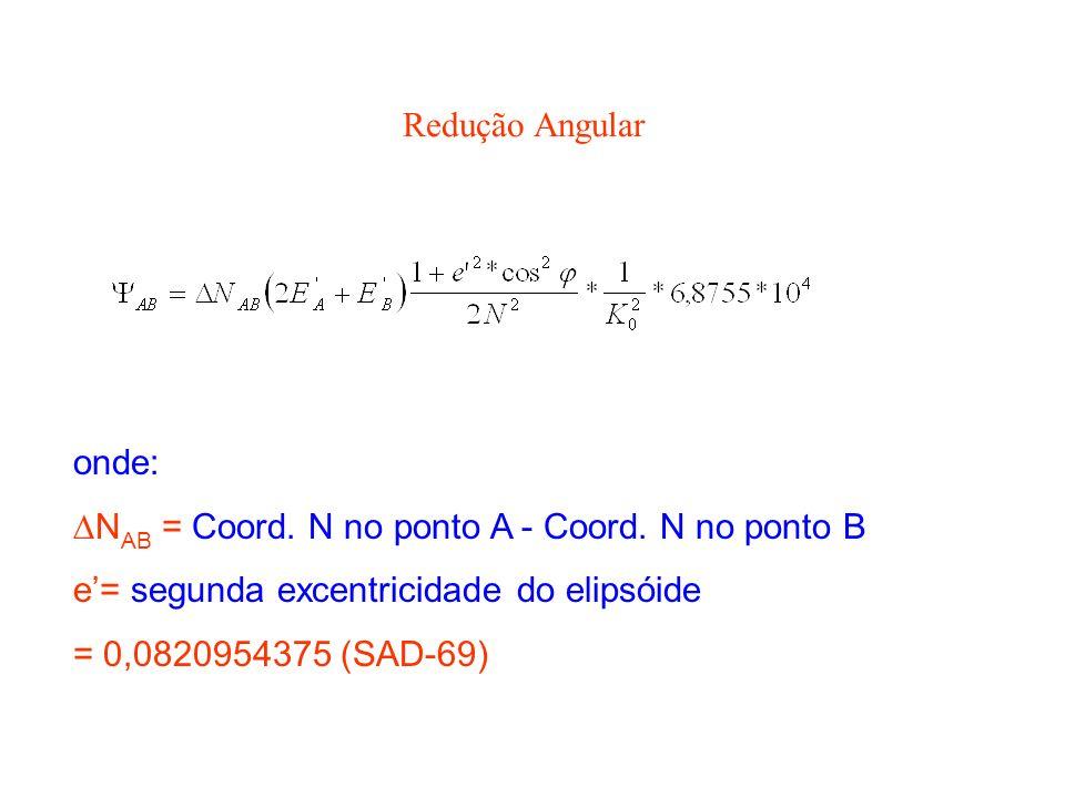 Redução Angular onde: NAB = Coord. N no ponto A - Coord. N no ponto B. e'= segunda excentricidade do elipsóide.