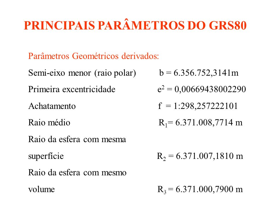 PRINCIPAIS PARÂMETROS DO GRS80