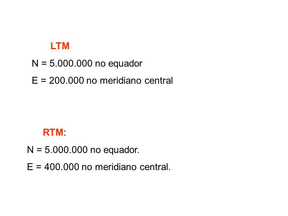 LTM N = 5.000.000 no equador. E = 200.000 no meridiano central. RTM: N = 5.000.000 no equador.