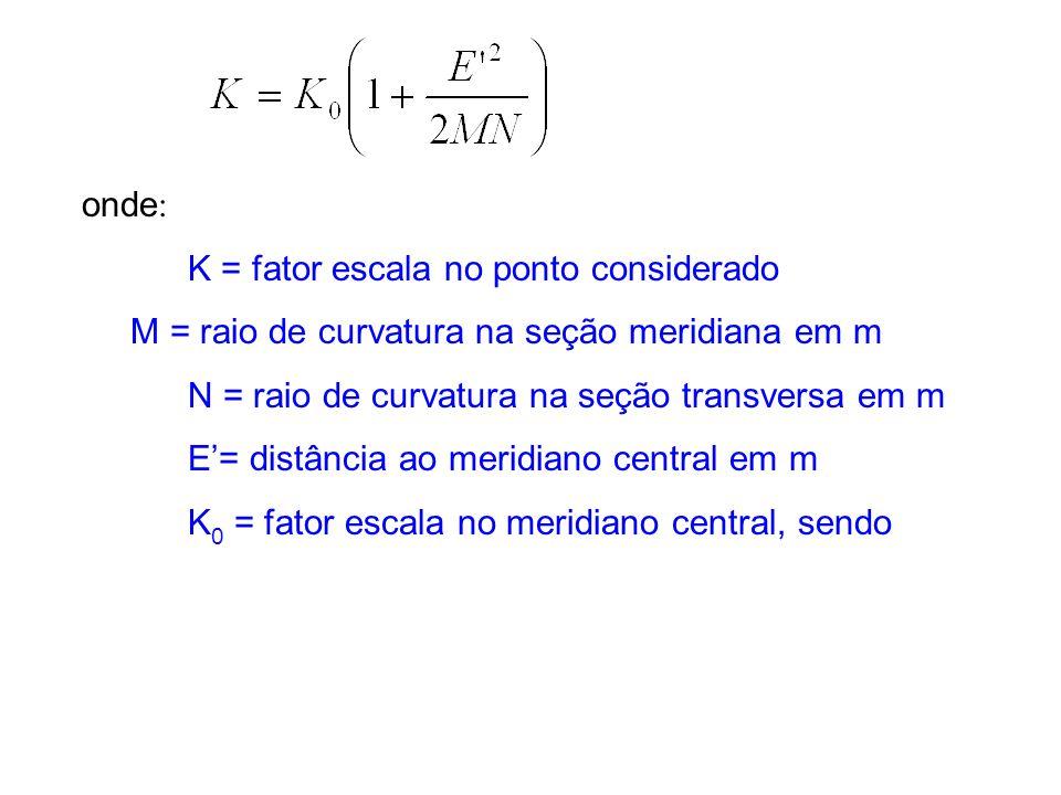 onde: K = fator escala no ponto considerado. M = raio de curvatura na seção meridiana em m. N = raio de curvatura na seção transversa em m.