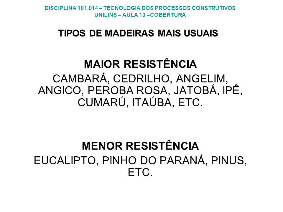 TIPOS DE MADEIRAS MAIS USUAIS