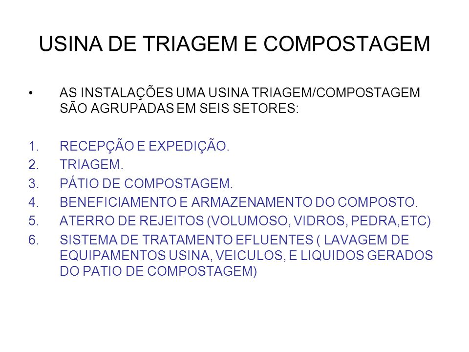 USINA DE TRIAGEM E COMPOSTAGEM