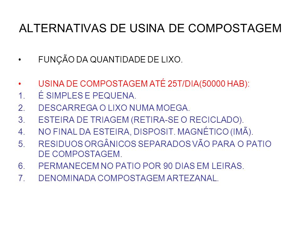 ALTERNATIVAS DE USINA DE COMPOSTAGEM