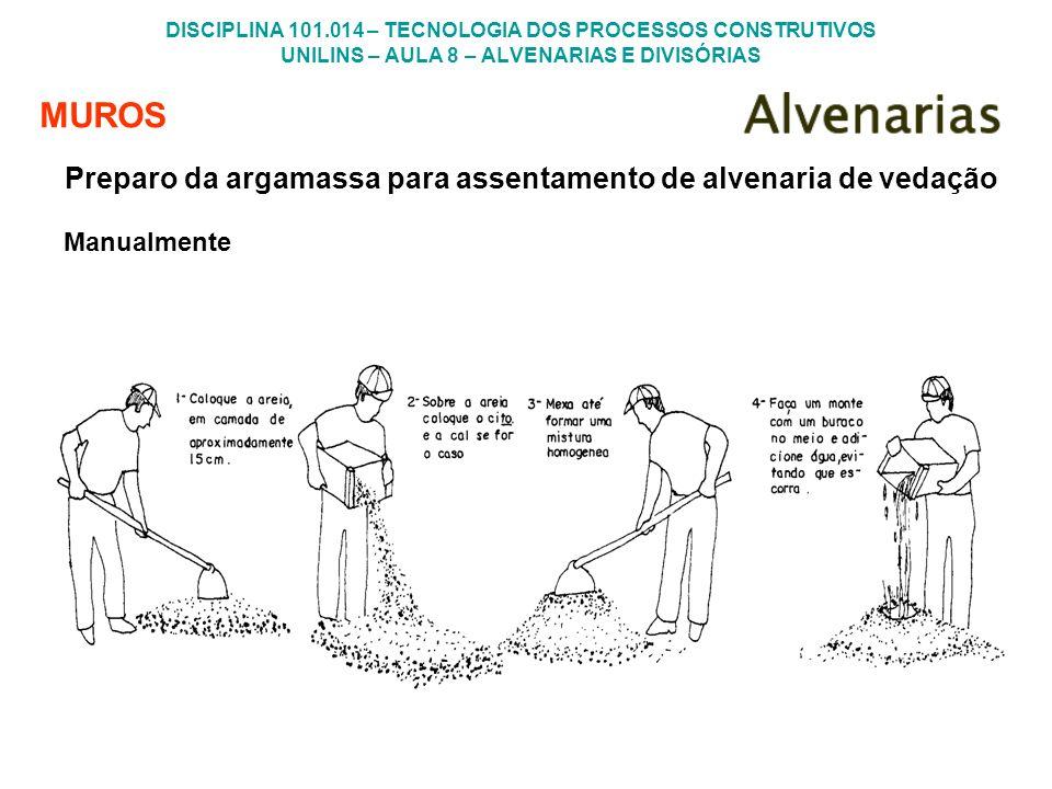 MUROS Preparo da argamassa para assentamento de alvenaria de vedação