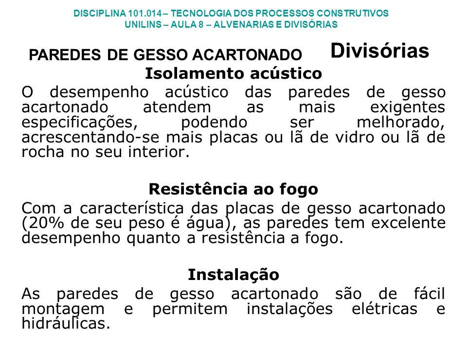 Divisórias PAREDES DE GESSO ACARTONADO Isolamento acústico
