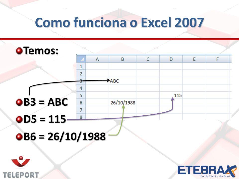 Como funciona o Excel 2007 Temos: B3 = ABC D5 = 115 B6 = 26/10/1988