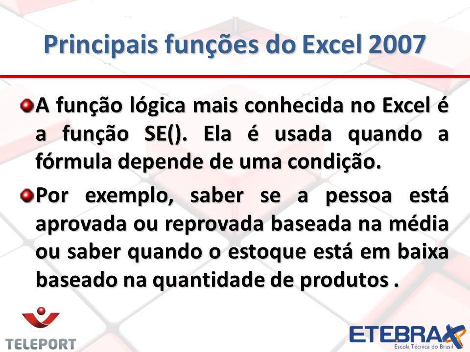 Principais funções do Excel 2007