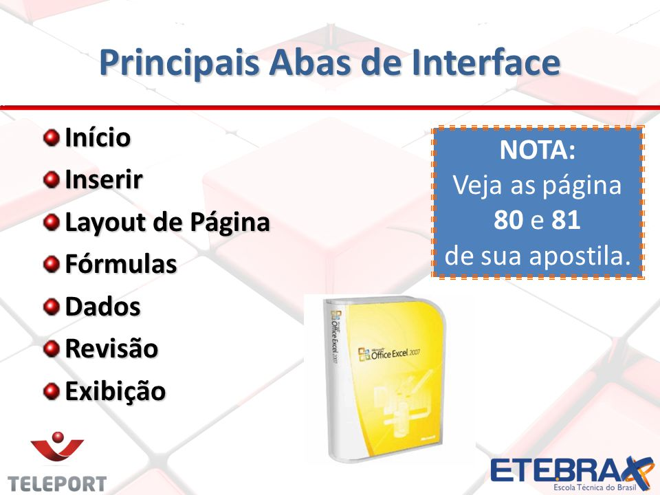 Principais Abas de Interface