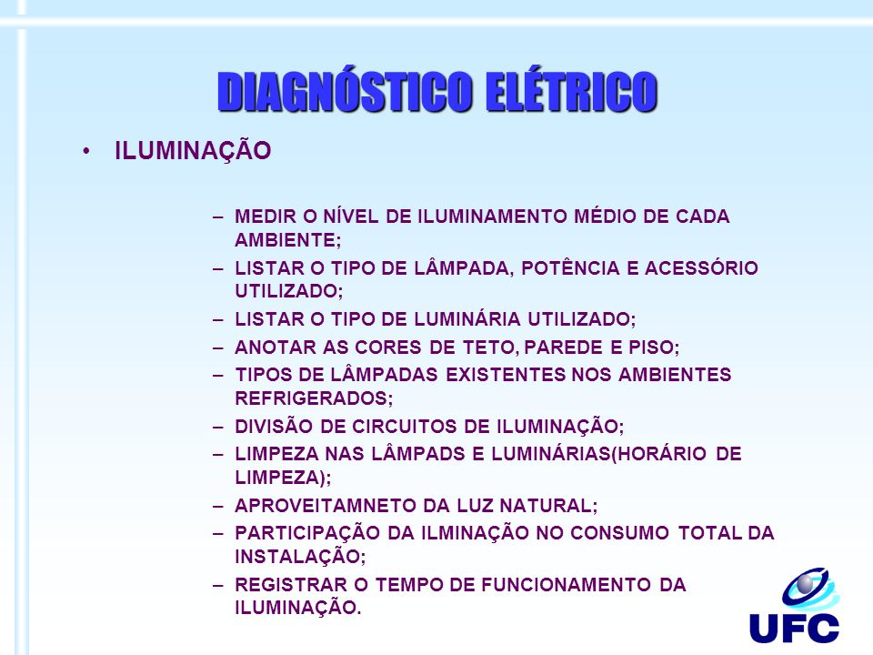 DIAGNÓSTICO ELÉTRICO ILUMINAÇÃO
