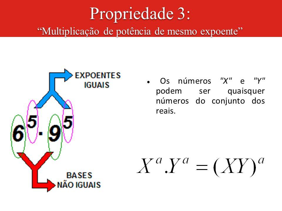 Propriedade 3: Multiplicação de potência de mesmo expoente