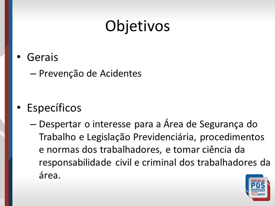 Objetivos Gerais Específicos Prevenção de Acidentes