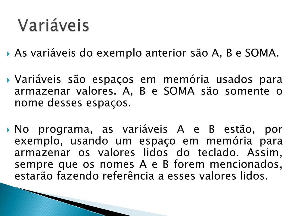 Variáveis As variáveis do exemplo anterior são A, B e SOMA.