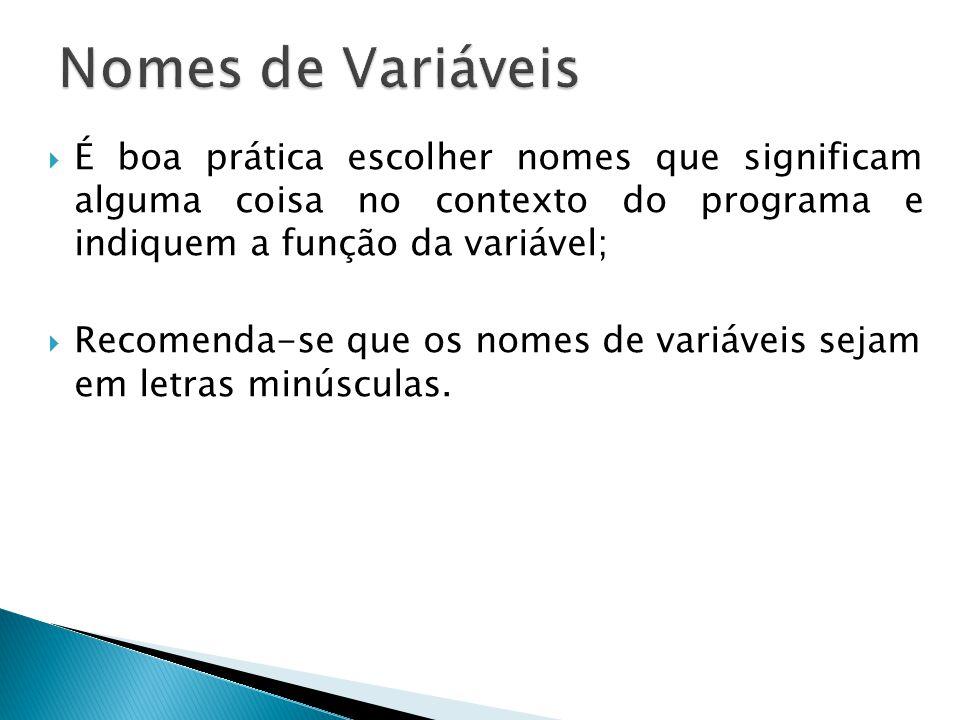Nomes de Variáveis É boa prática escolher nomes que significam alguma coisa no contexto do programa e indiquem a função da variável;
