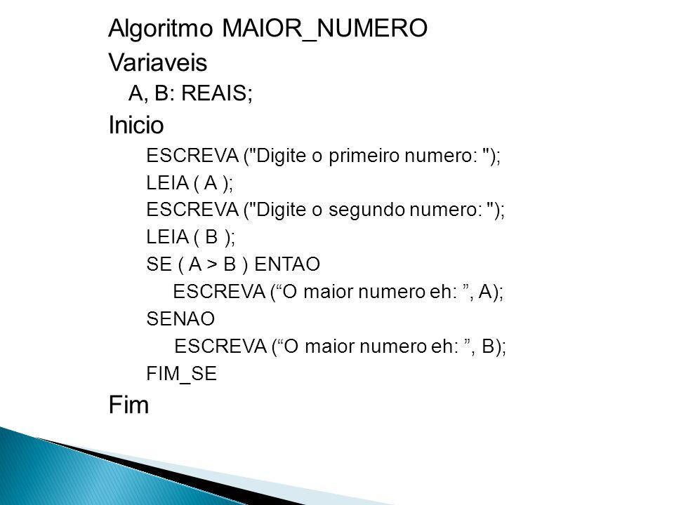 Algoritmo MAIOR_NUMERO Variaveis Inicio