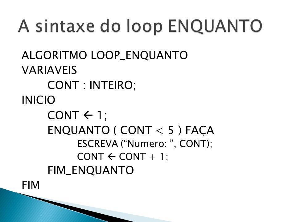 A sintaxe do loop ENQUANTO